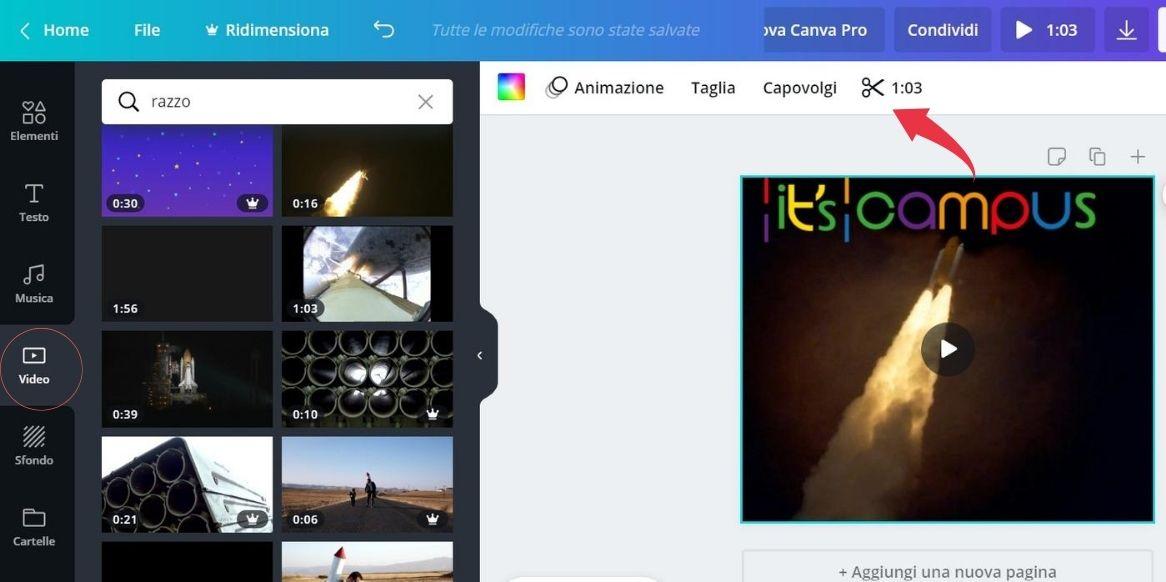 come aggiungere un video ad un progetto su Canva